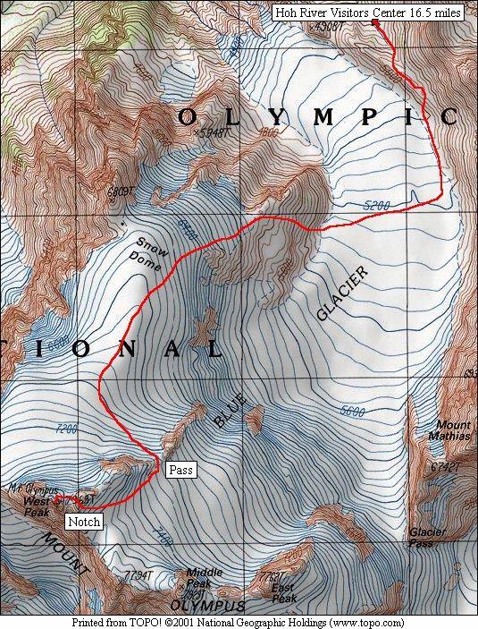 EBCMount Olympus Blue Glacier Route - Olympus map